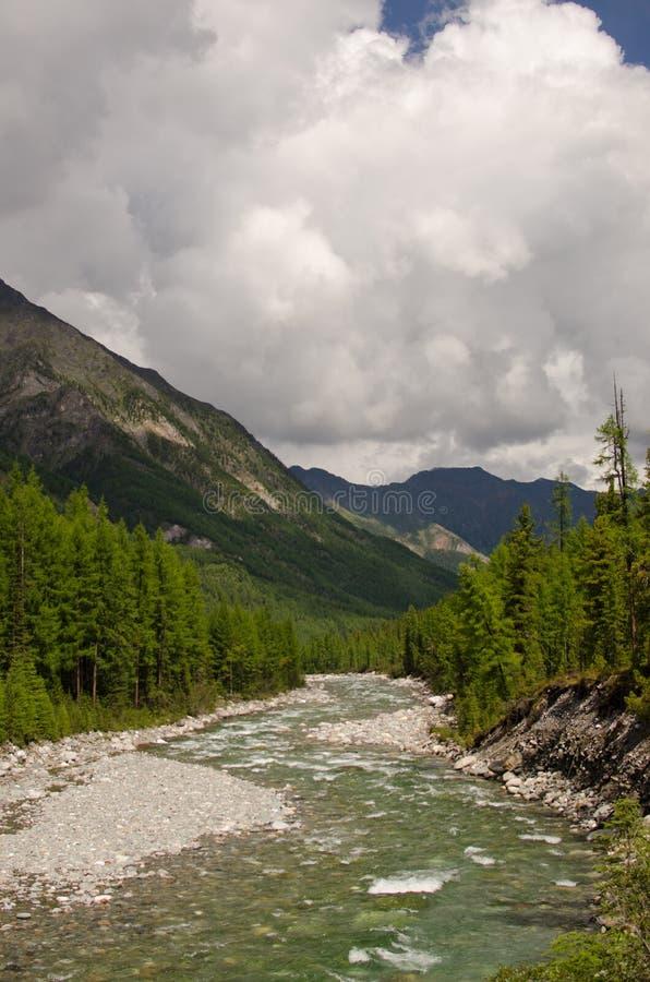 Fleuve de montagne Sayan oriental image stock