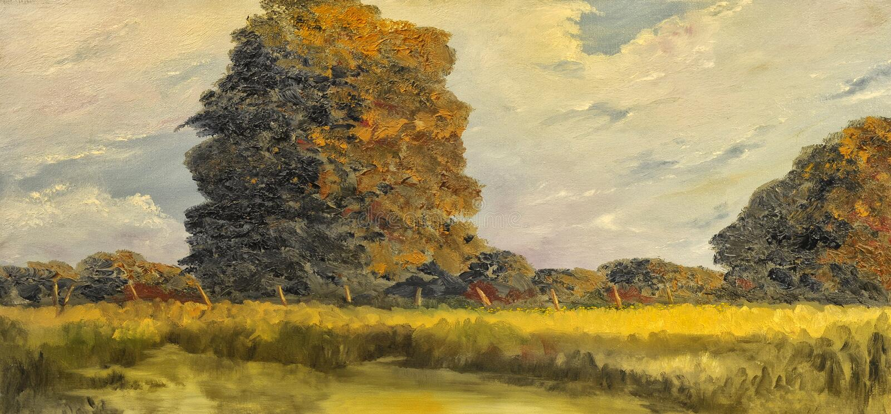 fleuve de peinture à l'huile d'horizontal de forêt photo stock
