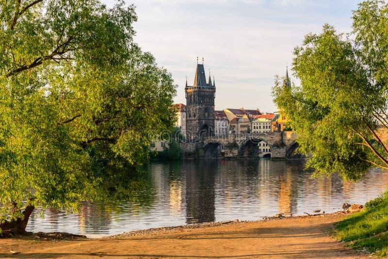 Fleuve de Vltava à Prague, République Tchèque photo libre de droits