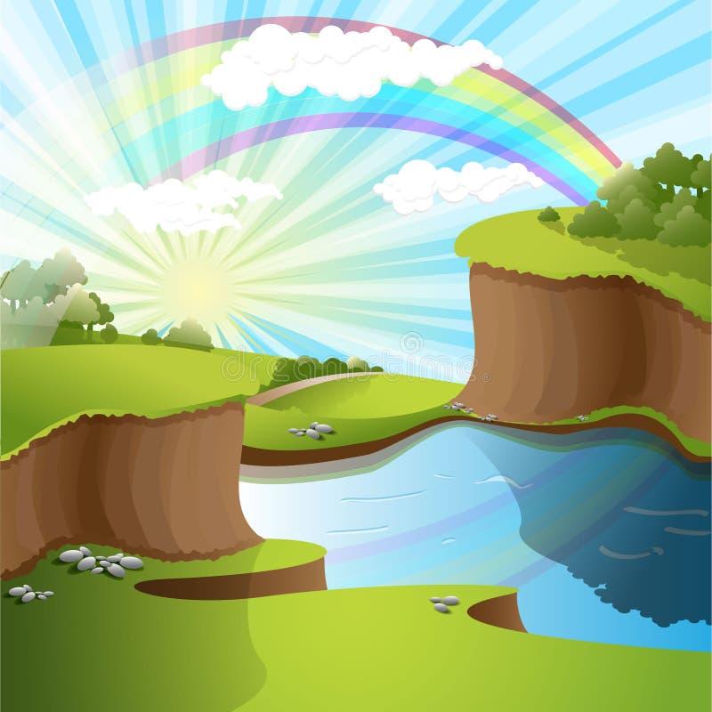 Fleuve et arc-en-ciel illustration libre de droits