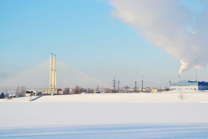Fleuve figé de Neva photo stock