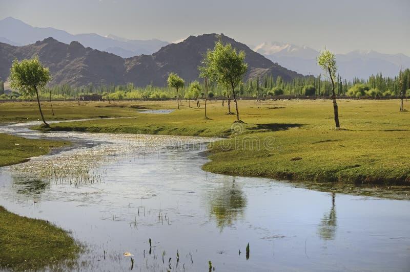 Fleuve Indus traversant des plaines dans Ladakh, Inde, photos libres de droits