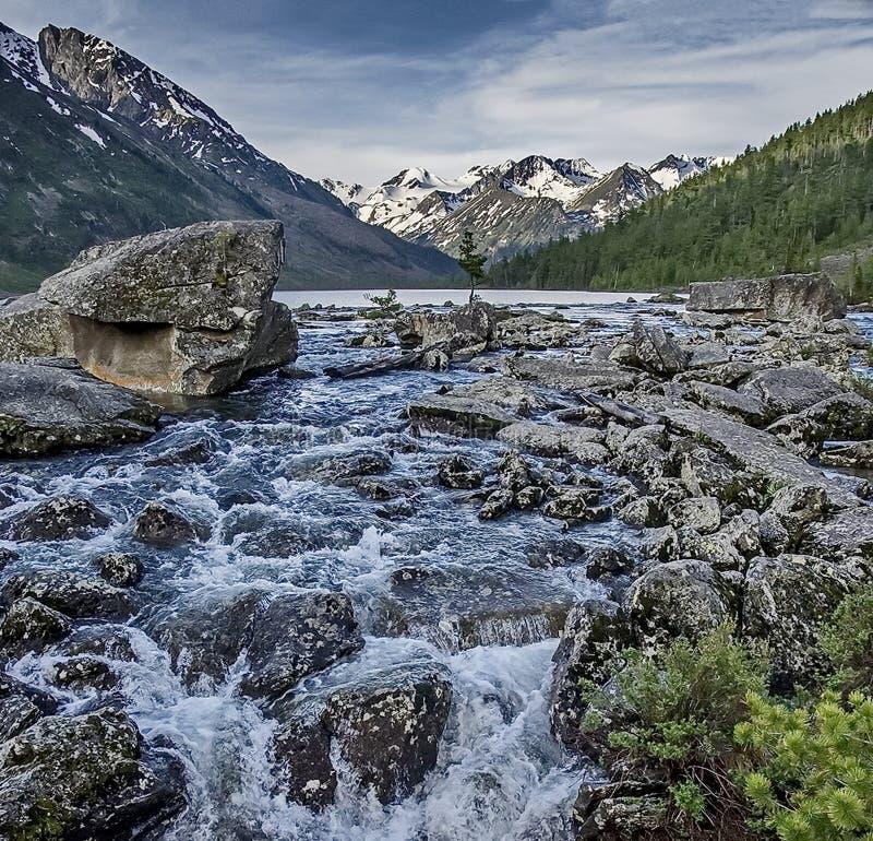 Fleuve rapide de montagne Cascade Rivière de montagne d'eaux de plus près de la source image libre de droits