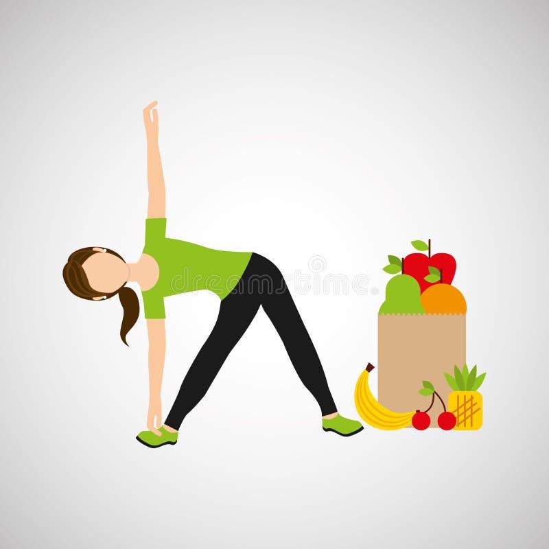Flexibilidade da mulher que exercita o saco saudável do alimento ilustração do vetor
