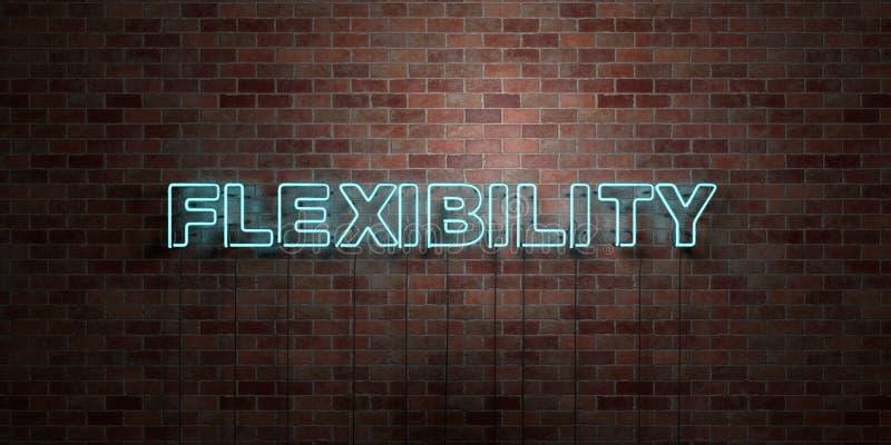 FLEXIBILITÄT - Leuchtstoffneonröhre-Zeichen auf Maurerarbeit - Vorderansicht - 3D übertrug freies Bild der Abgabe auf Lager lizenzfreie abbildung