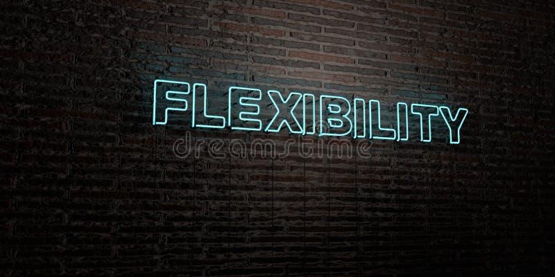 FLEXIBILITÄT - realistische Leuchtreklame auf Backsteinmauerhintergrund - 3D übertrug freies Archivbild der Abgabe lizenzfreie abbildung