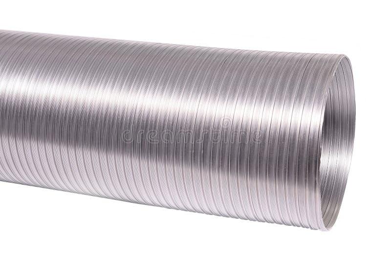 Flexible Aluminiumkanalisierung für Belüftungsausrüstung Lokalisiert auf Weiß stockfoto