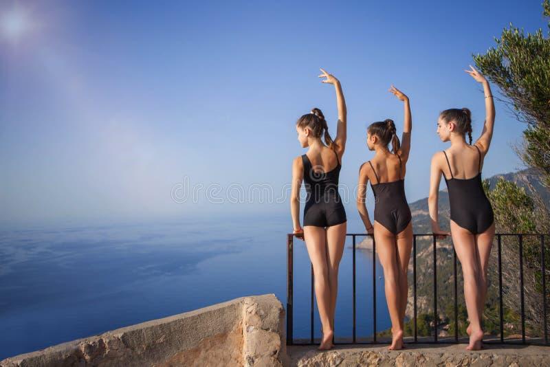 Flexible, bailarines sanos del ajuste imagen de archivo