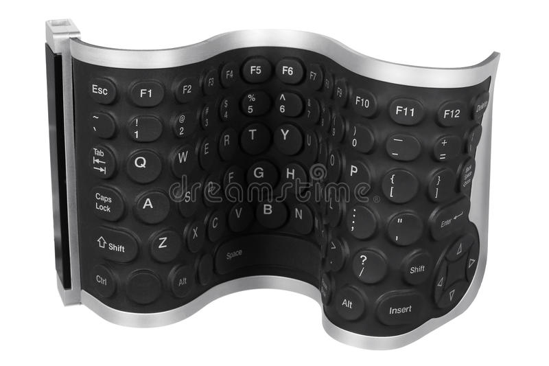 Flexible Computer Keyboard. On White Background royalty free stock photos