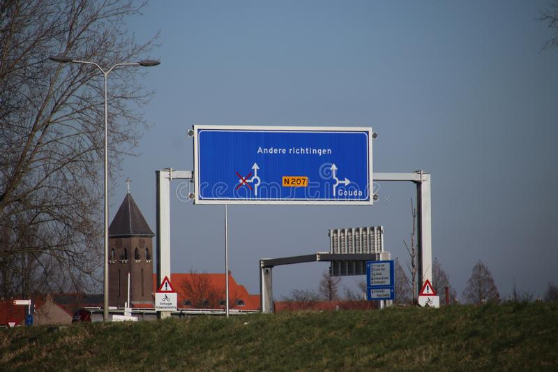 Flexible direction sign depending on which bridge is open or closed at the Julianasluis in Gouda, The Netherlands stock image