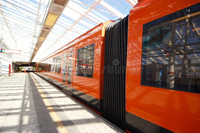 Flexible gangway of train. Flexible gangway of metro wagon connection covered with folding bellow royalty free stock photos