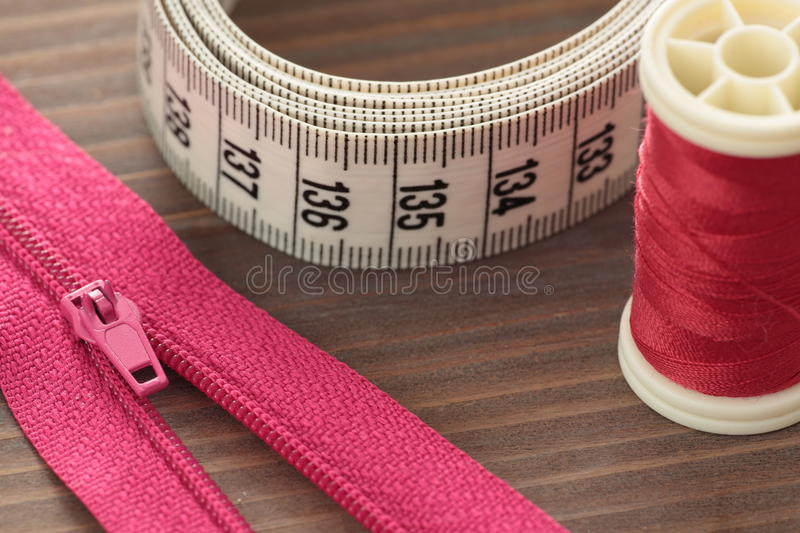 Flexible measuring meter of fabric. Photographed close stock photos