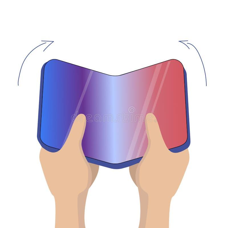 Flexible mobile screen display in hands. Innovative technology. Raster format vector illustration