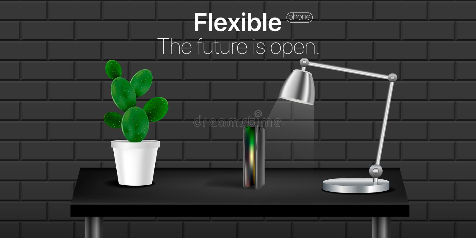 Flexible phone on black realistic table with cactus and lamp, textured wall black backgound.  Template for Object Presentation. Concept new technology in phone vector illustration