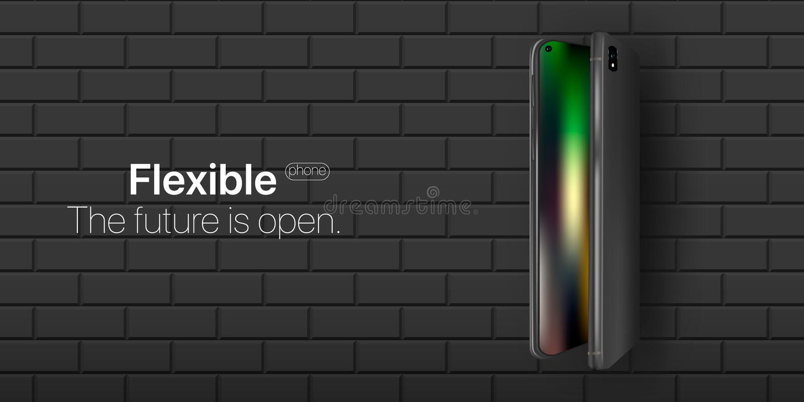 Flexible phone. Concept new technology in phone industries. Flexible display of mobile phone bended hanging over wall. New technology transforming phone into a vector illustration
