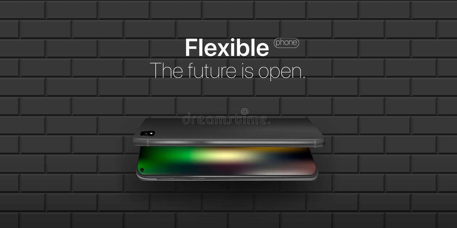 Flexible phone. Concept new technology in phone industries. Flexible display of mobile phone bended hanging over wall. stock photo