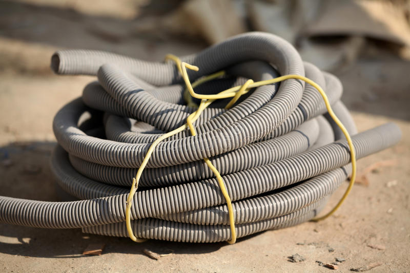 Flexible pipe. Beautiful shot of bundled flexible pipe royalty free stock photography