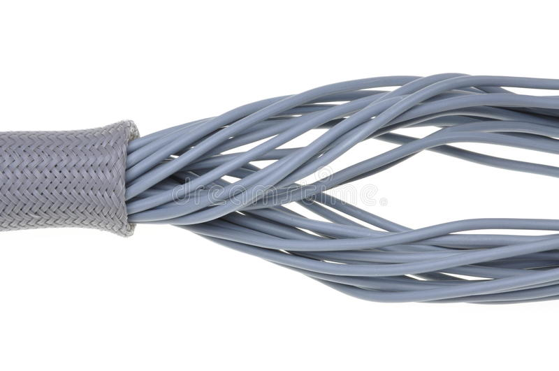Flexible protective tube with cables stock photography