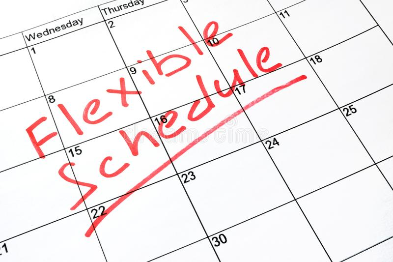 Flexible schedule. stock image