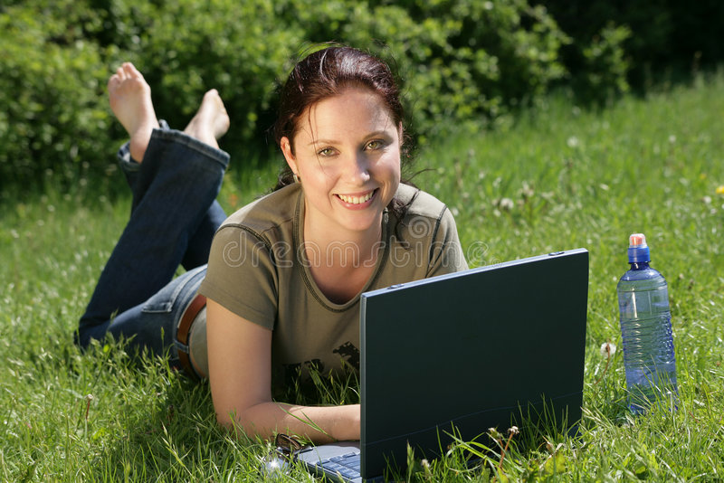 flexible work - technology in nature stock photography