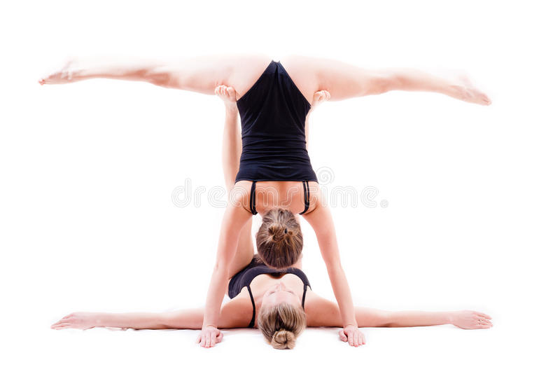 Download 2 Flexible Young Woman Beautiful Girl Friends One In Legs Split Stock Image - Image: 39249043