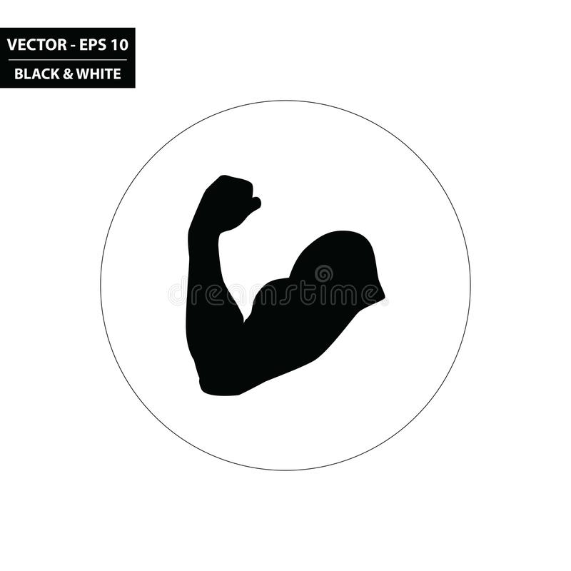 Flexing arm - muscle black and white flat icon royalty free illustration