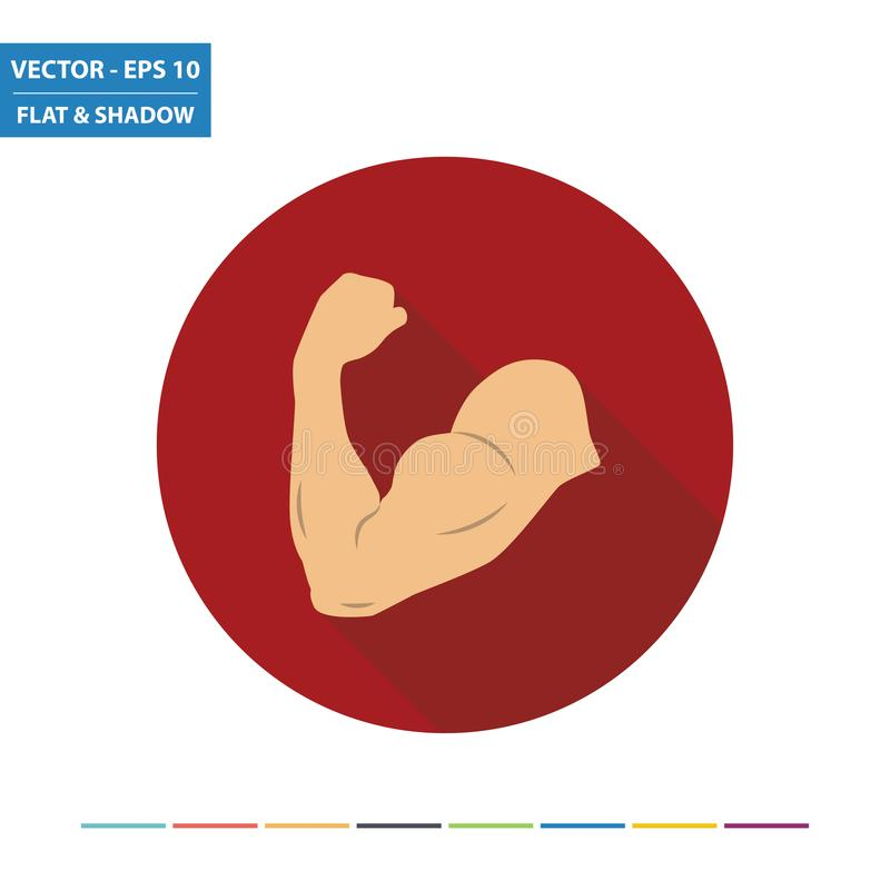 Flexing arm - muscle flat icon vector illustration