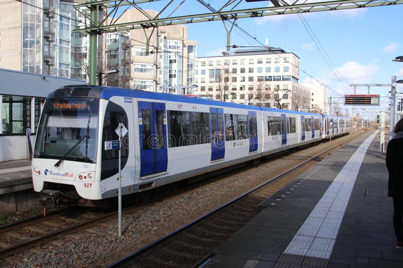 Flexity Swift rgs3 tram vehicle on the rails for Randstadrail in The Hague operated by RET at station Den Haag Laan van No. royalty free stock photography