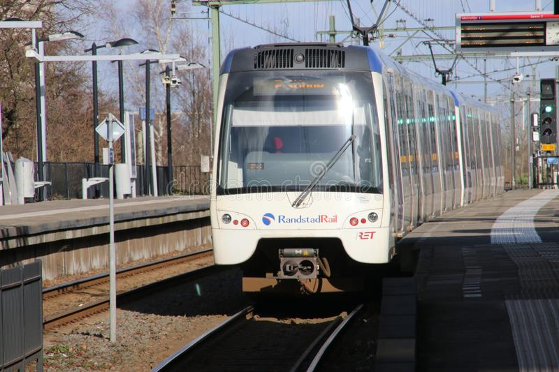 Flexity Swift rgs3 tram vehicle on the rails for Randstadrail in The Hague operated by RET at station Den Haag Laan van No. stock photo