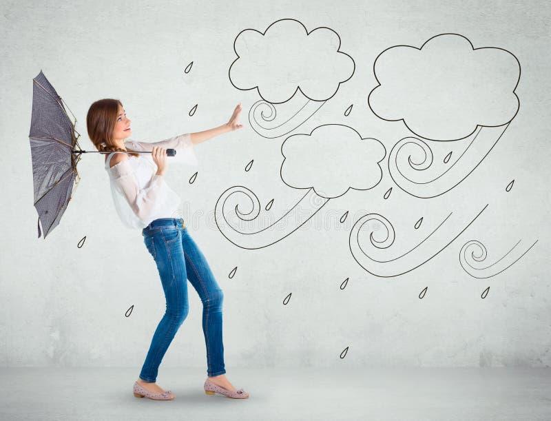 Flicka över en vitvägg, dåligt väderbegrepp royaltyfri illustrationer