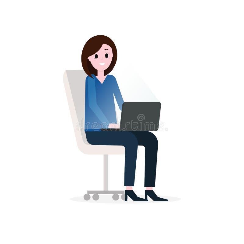 Flicka affärskvinna som arbetar med bärbara datorn som sitter på kontorsstol Plan illustration för vektor vektor illustrationer