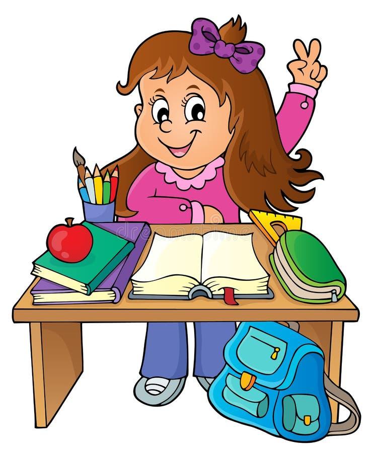 Flicka bak bild 1 för skolaskrivbordtema royaltyfri illustrationer