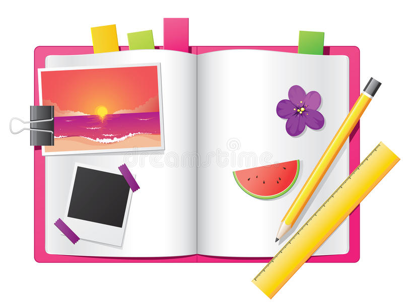 Flicka dagbok stock illustrationer