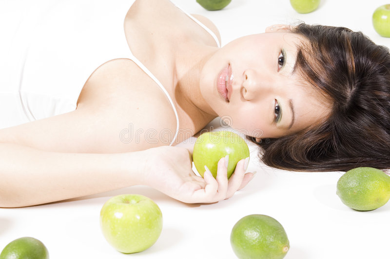 flicka för 3 frukt arkivfoton