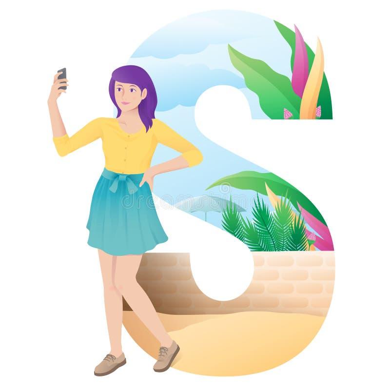 Flicka för alfabet som S gör selfie på sommar royaltyfri illustrationer