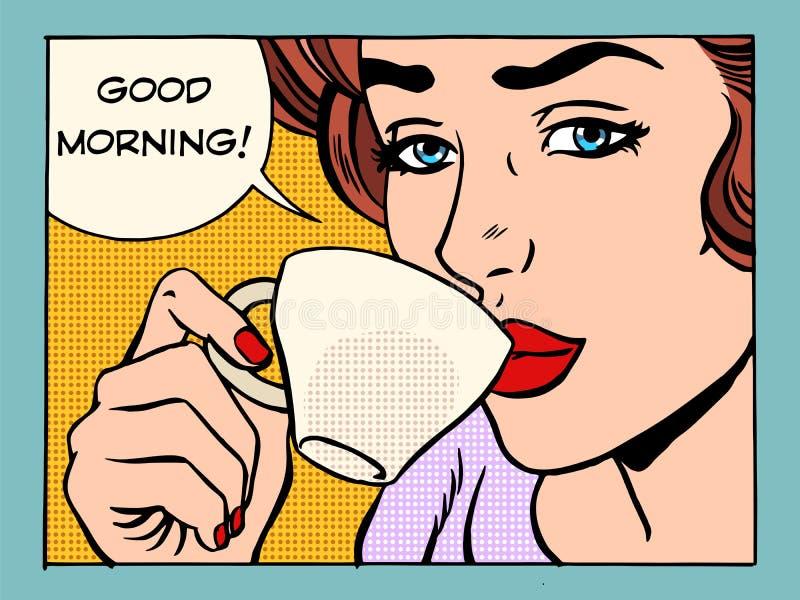 Flicka för bra morgon med koppen kaffe stock illustrationer