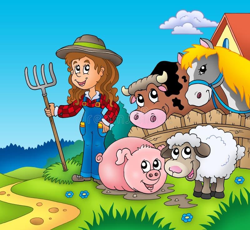 flicka för djurlandslantgård stock illustrationer