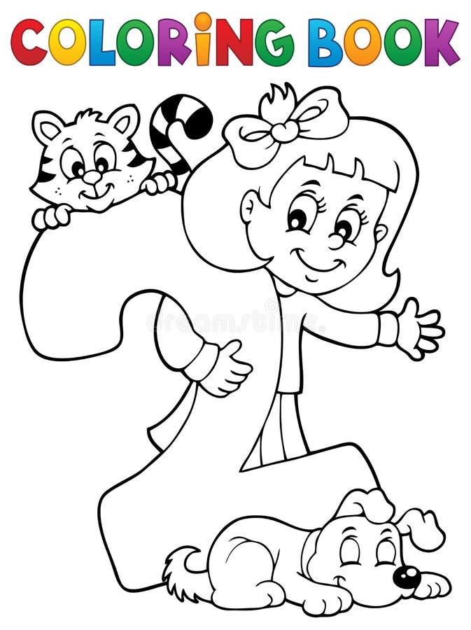 Flicka för färgläggningbok med nummer två vektor illustrationer