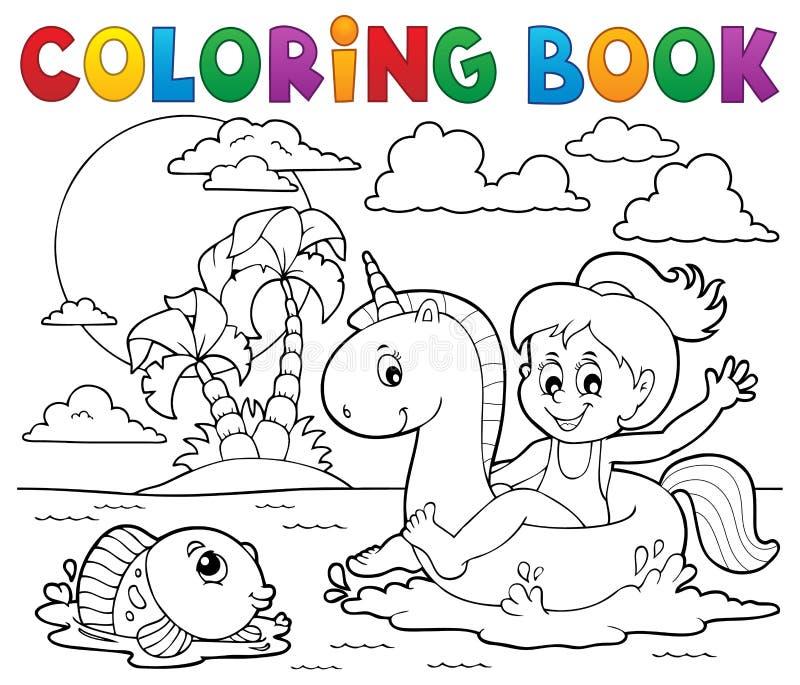 Flicka för färgläggningbok som svävar på enhörning 2 stock illustrationer