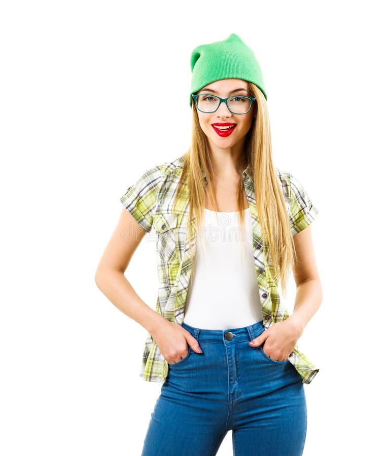 Flicka för gatastilHipster som isoleras på vit arkivfoto