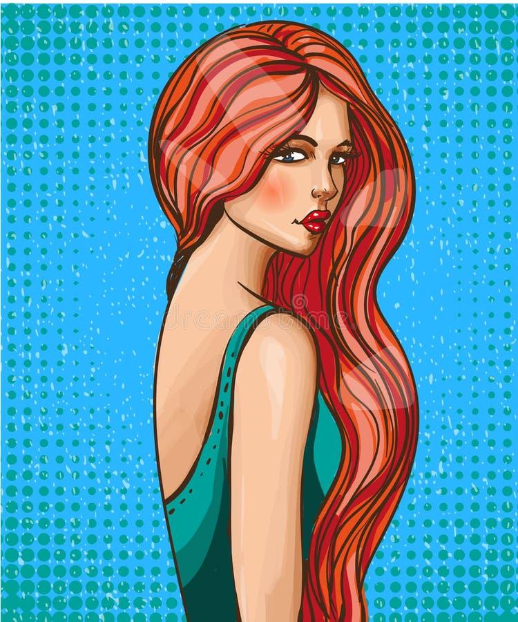 Flicka för glamourpopkonst med den långa hårvektorillustrationen stock illustrationer
