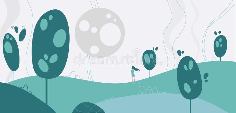 Flicka för illustration för vektor för fantasilandskapbakgrund i saga royaltyfri illustrationer