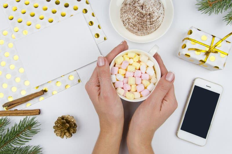 Flicka för julsammansättning som A rymmer en kopp med marshmallower på vit bakgrund med gåvaasken, granfilial, kotte _ royaltyfri foto