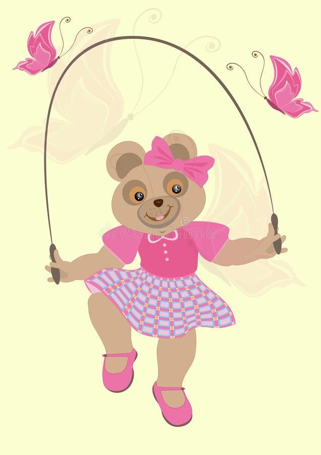 flicka för klänning för björnfjärilar crimson vektor illustrationer