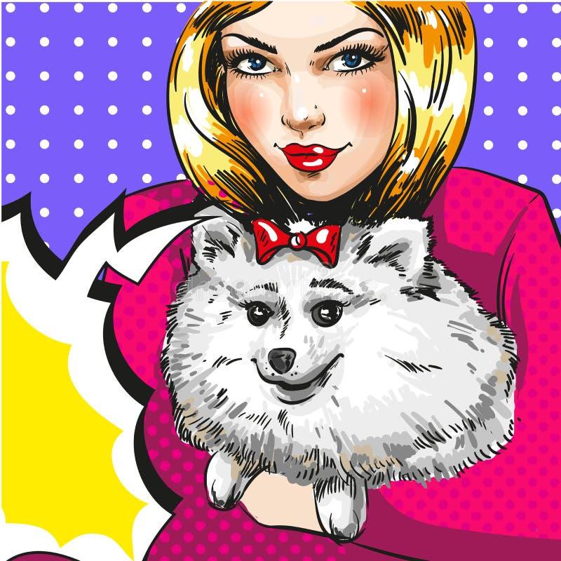 Flicka för konst för vektortappningpop med hennes älsklings- hund vektor illustrationer