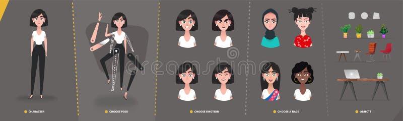 Flicka för kvinna för tecknad filmteckenaffär för animering- och rörelsedesign royaltyfri illustrationer