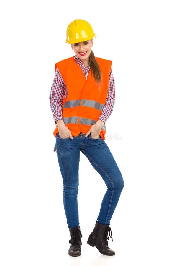 Flicka för manuell arbetare arkivfoto