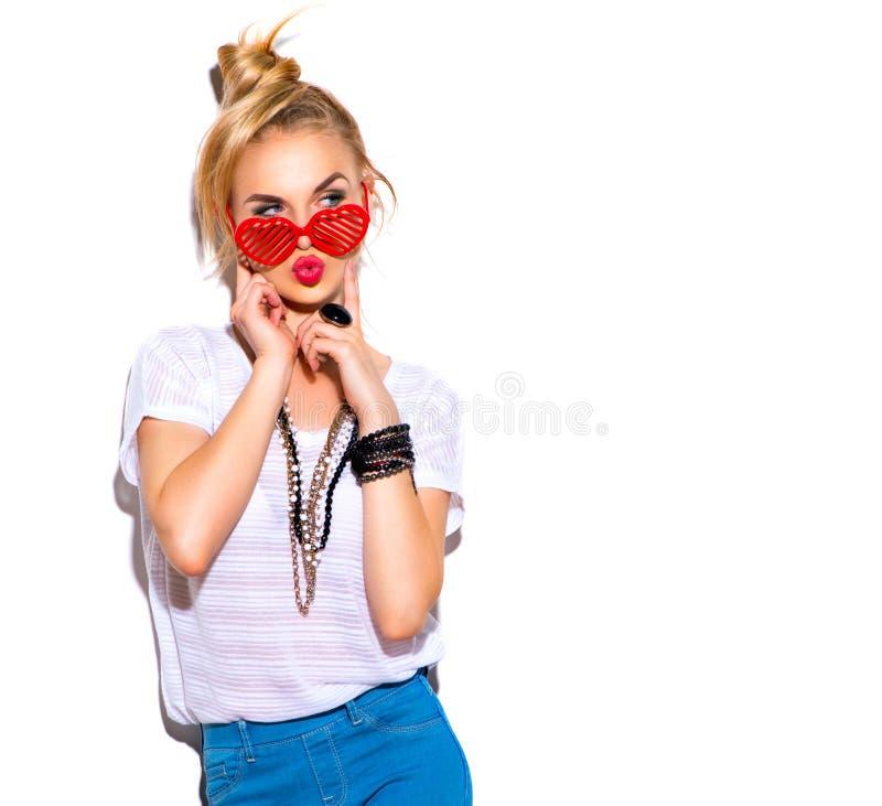 Flicka för modemodell som isoleras över vit arkivbild