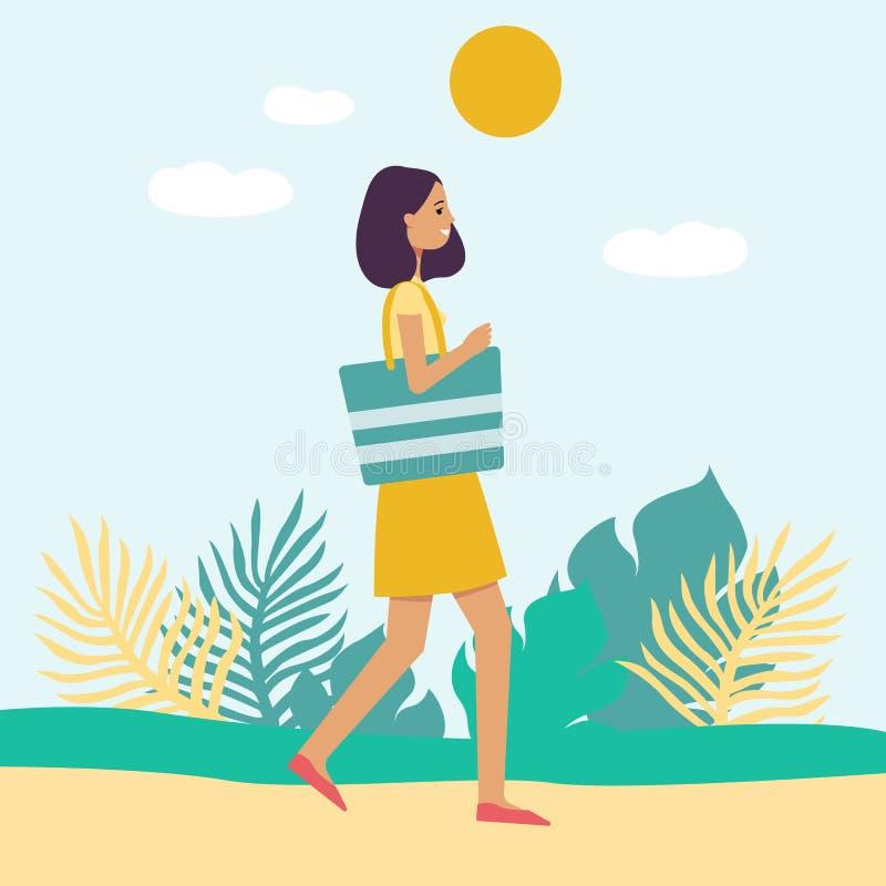 Flicka för sidosikt i klänning med strandpåsen som går på stil för tecknad film för sommardag plan stock illustrationer