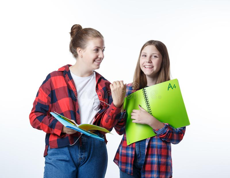 Flicka för skolacolledgetonåringar med stationära bokanteckningsböcker arkivbilder